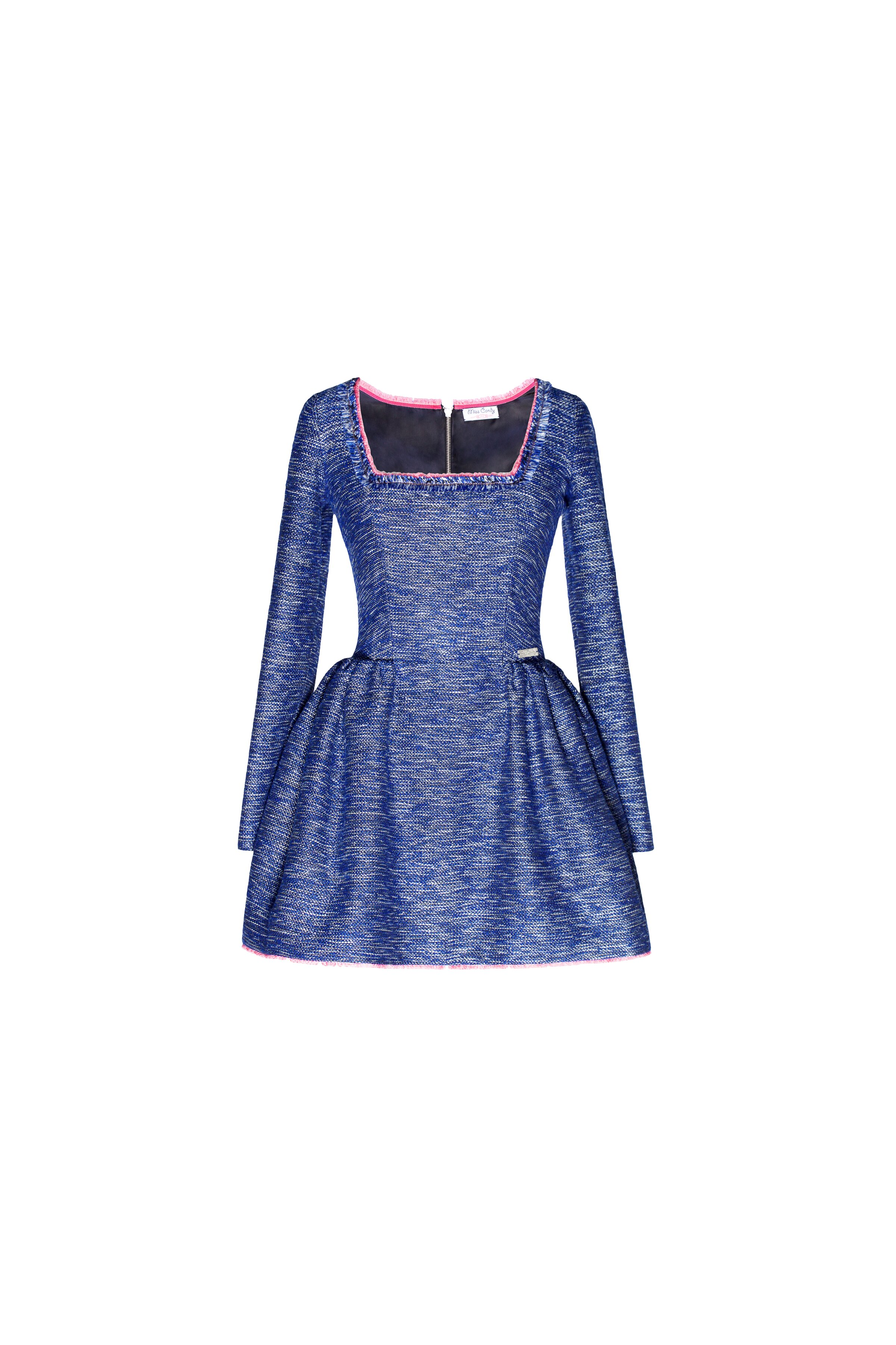 Blue tweed dress with square-cut neck, Dark blue, M, Mini