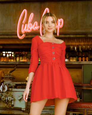 Red taffeta dress with rose buttons, Red, XS, Mini