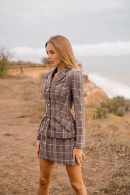 Brown Plaid velvet jacket with buttons, Brown, XS