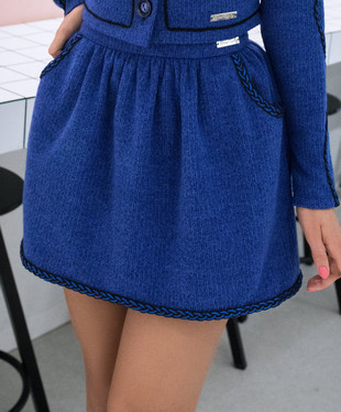 Blue knitted mini skirt, Dark blue, XS, Mini