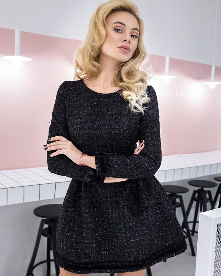 Black bold tweed dress, Black, XS, Mini