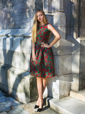 Jacquard midi dress with red roses 3D embroidery, Assorted, XS