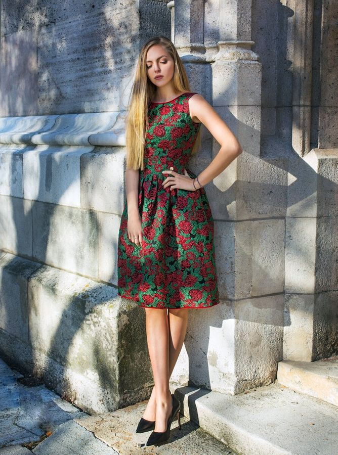 Jacquard midi dress with red roses 3D embroidery, Assorted, XS, Below the knee