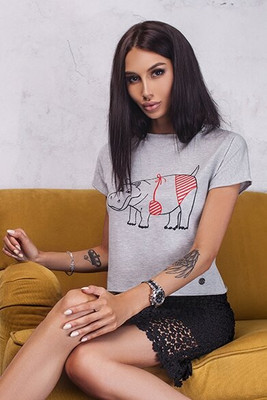 Gray knitted t-shirt with hippo embroidery, Gray, XS