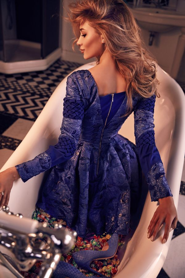 Dark blue silk jacquard dress with sleeve, Dark blue, XS, Above the knee
