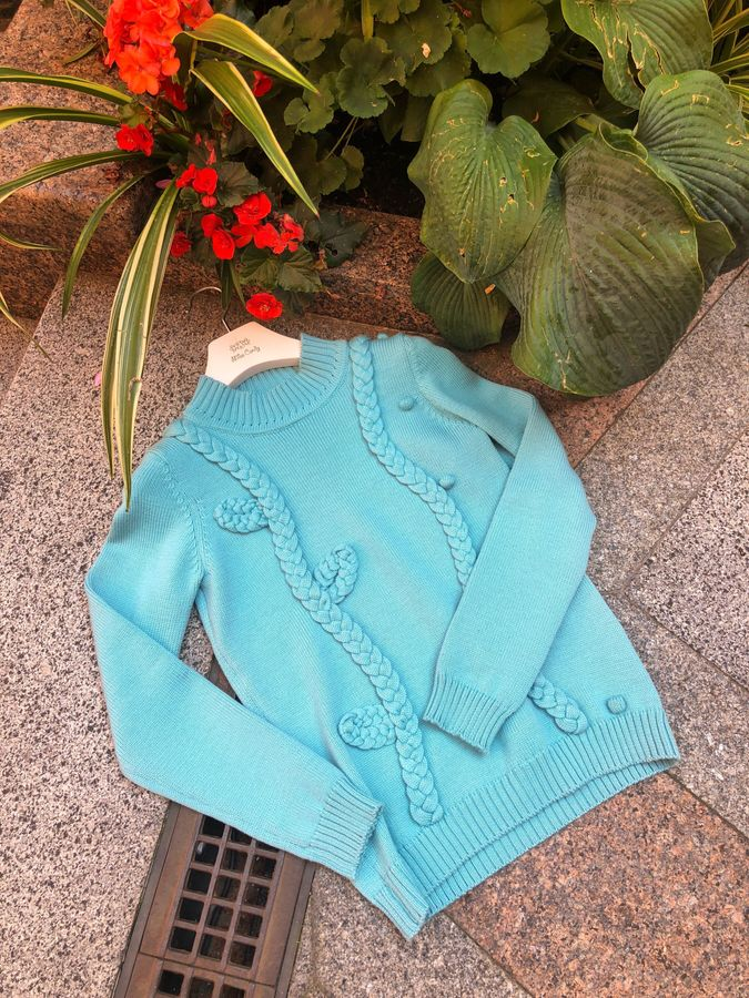 Blue wool sweater with braids, Blue, S