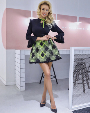 Jacquard lime argyle dress with keyhole neckline and bell sleeves, XS