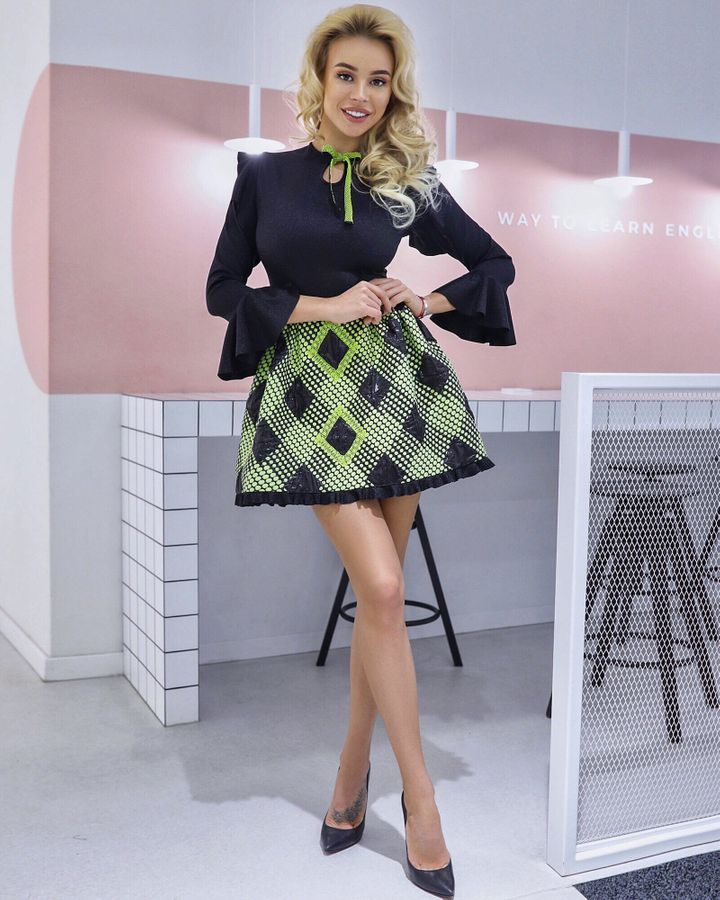 Jacquard lime argyle dress with keyhole neckline and bell sleeves, XS, Mini