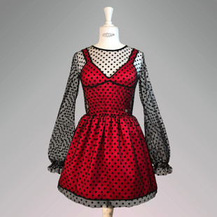 Red satin bodice dress covered by blsck velvet dotted net on top, Red, XS, Mini
