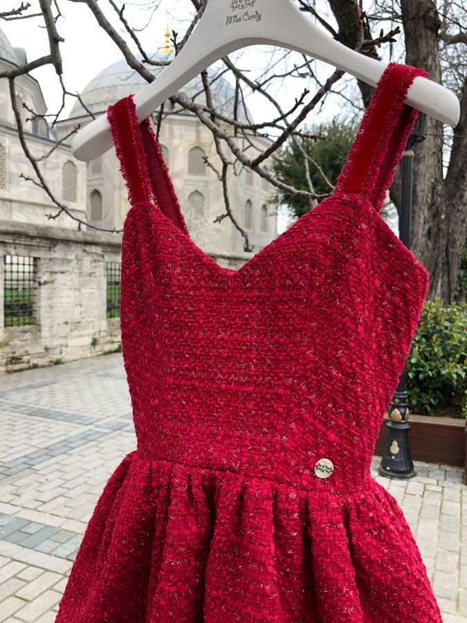 Red tweed dress with velvet straps, Red, XS, Mini