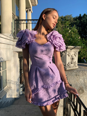 Lilac embroidered batiste dress with volumetric rose sleeves, Lilac, XS, Mini
