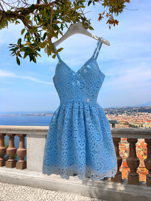 Blue guipure dress with cups, Blue, XS, Mini